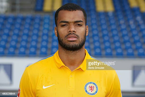 Phil OfosuAyeh poses during the Eintracht Braunschweig team presentation at Eintracht Stadion on July 9 2015 in Braunschweig Germany