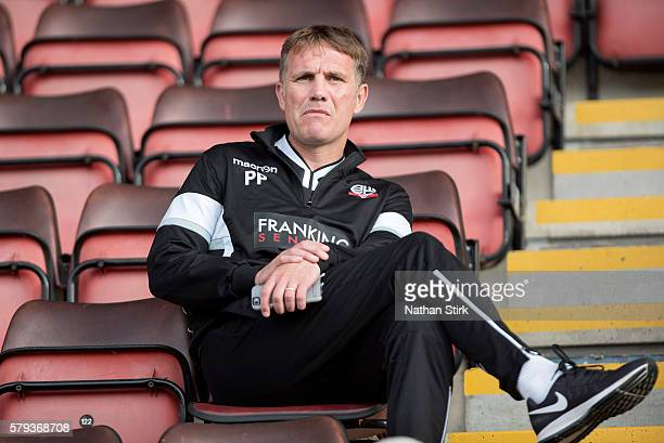 Phil Parkinson manager of Bolton Wanderers prior to the PreSeason Friendly between Crewe Alexandra and Bolton Wanderers at The Alexandra Stadium on...