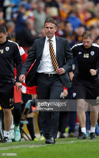 Phil Parkinson manager of Bradford City during the Sky Bet League One match between Bradford City and Barnsley at Coral Windows Stadium on April 25...