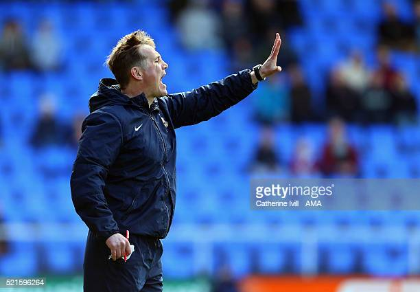 Phil Parkinson manager of Bradford City during the Sky Bet League One match between Shrewsbury Town and Bradford City at New Meadow on April 16 2016...