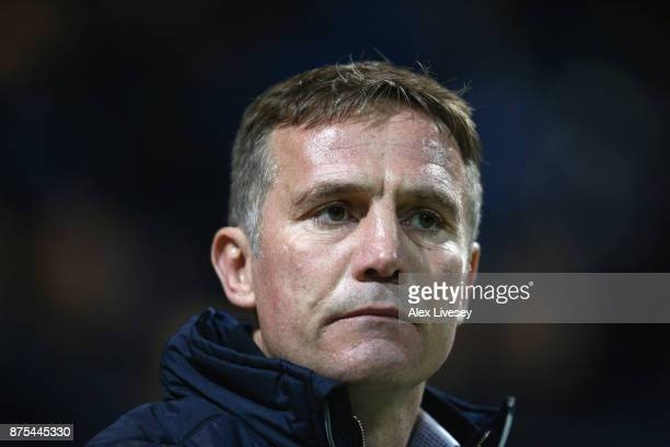 Phil Parkinson the manager of Bolton Wanderers looks on during the Sky Bet Championship match between Preston North End and Bolton Wanderers at...