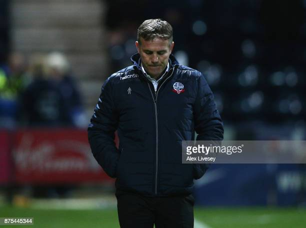 Phil Parkinson the manager of Bolton Wanderers walks to the dugout prior to the Sky Bet Championship match between Preston North End and Bolton...