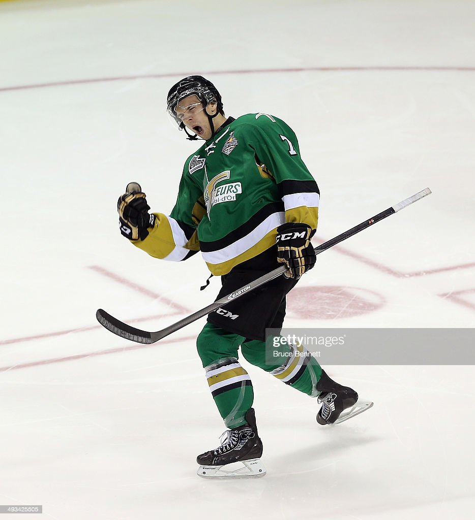 Phil Pietroniro #7 of the Val-d'Or Foreurs celebrates his goal at 1:49 of the first period against the Edmonton Oil Kings during the 2014 Memorial Cup tournament at Budweiser Gardens on May 23, 2014 in London, Ontario, Canada.