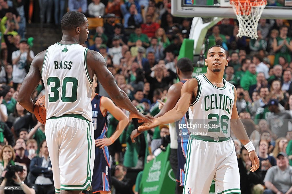 <a gi-track='captionPersonalityLinkClicked' href=/galleries/search?phrase=Phil+Pressey&family=editorial&specificpeople=7399881 ng-click='$event.stopPropagation()'>Phil Pressey</a> #26 and <a gi-track='captionPersonalityLinkClicked' href=/galleries/search?phrase=Brandon+Bass&family=editorial&specificpeople=233806 ng-click='$event.stopPropagation()'>Brandon Bass</a> #30 of the Boston Celtics celebrate a play against the Charlotte Bobcats on April 11, 2014 at the TD Garden in Boston, Massachusetts.