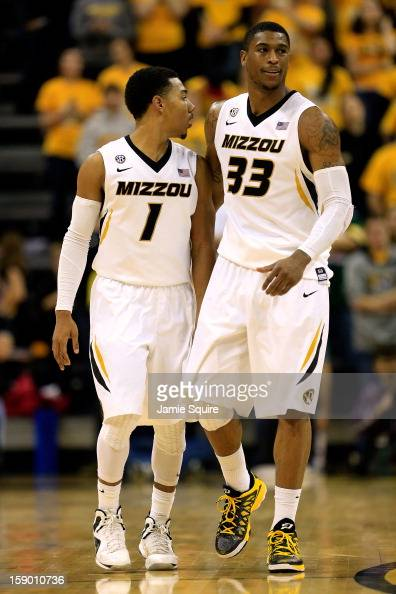 Phil Pressey and Earnest Ross of the Missouri Tigers react during the game against the Bucknell Bison at Mizzou Arena on January 5 2013 in Columbia...