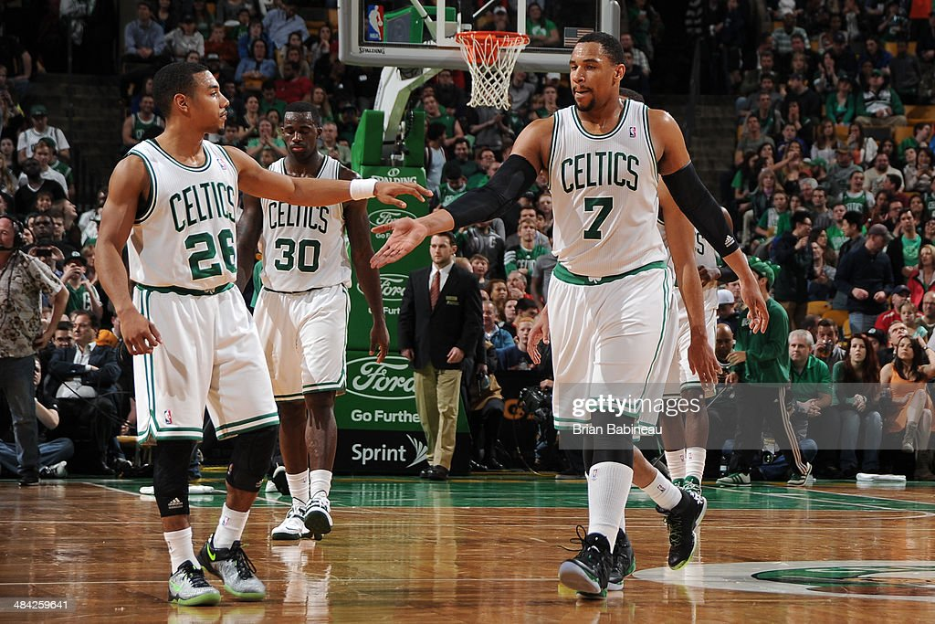 <a gi-track='captionPersonalityLinkClicked' href=/galleries/search?phrase=Phil+Pressey&family=editorial&specificpeople=7399881 ng-click='$event.stopPropagation()'>Phil Pressey</a> #26 and <a gi-track='captionPersonalityLinkClicked' href=/galleries/search?phrase=Jared+Sullinger&family=editorial&specificpeople=6866665 ng-click='$event.stopPropagation()'>Jared Sullinger</a> #27 of the Boston Celtics celebrate after a play against the Charlotte Bobcats on April 11, 2014 at the TD Garden in Boston, Massachusetts.