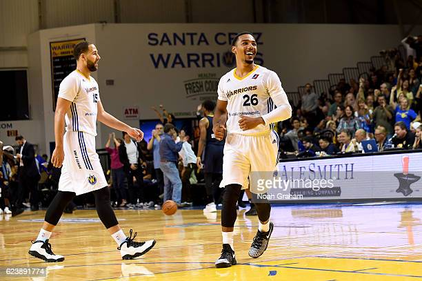 Phil Pressey and Mychel Thompson of the Santa Cruz Warriors smile and celebrate against the Iowa Energy on November 16 2016 at Kaiser Permanente...