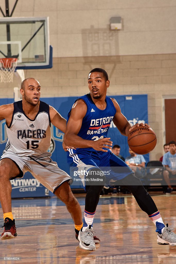 Phil Pressey of Detroit Pistons handles the ball against the Indiana Pacers during the 2016 Orlando Summer League on July 5 2016 at Amway Center in...