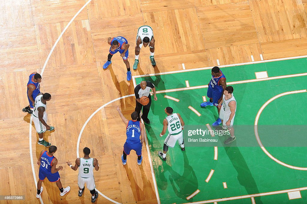 <a gi-track='captionPersonalityLinkClicked' href=/galleries/search?phrase=Phil+Pressey&family=editorial&specificpeople=7399881 ng-click='$event.stopPropagation()'>Phil Pressey</a> #26 of the Boston Celtics and <a gi-track='captionPersonalityLinkClicked' href=/galleries/search?phrase=Michael+Carter-Williams&family=editorial&specificpeople=7621167 ng-click='$event.stopPropagation()'>Michael Carter-Williams</a> #1 of the Philadelphia 76ers prepare for a jump ball during the game on April 4, 2014 at the TD Garden in Boston, Massachusetts.