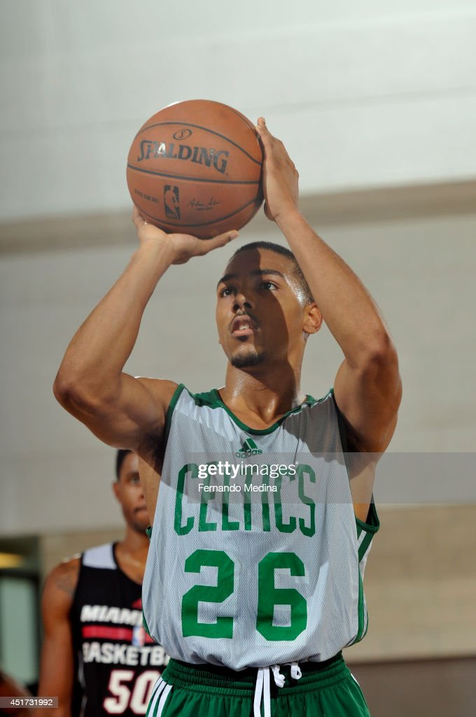 Phil Pressey of the Boston Celtics attempts a free throw against the Miami Heat on July 5 2014 at Amway Center in Orlando Florida NOTE TO USER User...