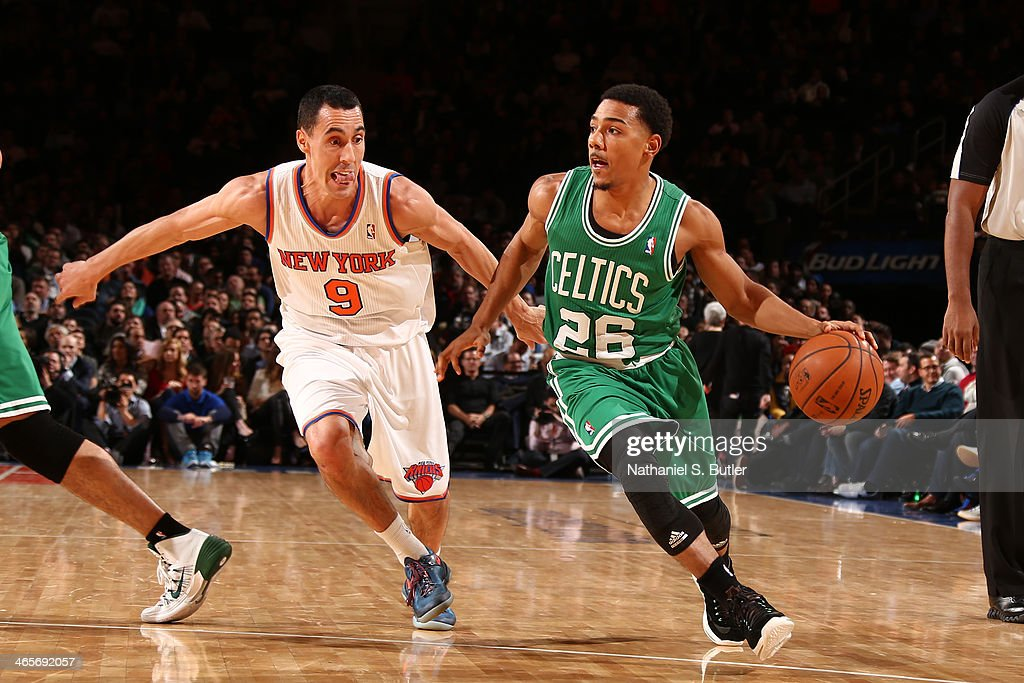 <a gi-track='captionPersonalityLinkClicked' href=/galleries/search?phrase=Phil+Pressey&family=editorial&specificpeople=7399881 ng-click='$event.stopPropagation()'>Phil Pressey</a> #26 of the Boston Celtics dribbles Pablo Prigioni #9 of the New York Knicks during a game at Madison Square Garden in New York City on January 28, 2014.