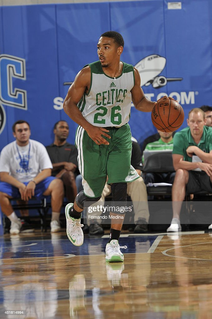 Phil Pressey of the Boston Celtics drives against the Indiana Pacers during the Samsung NBA Summer League 2014 on July 7 2014 at Amway Center in...