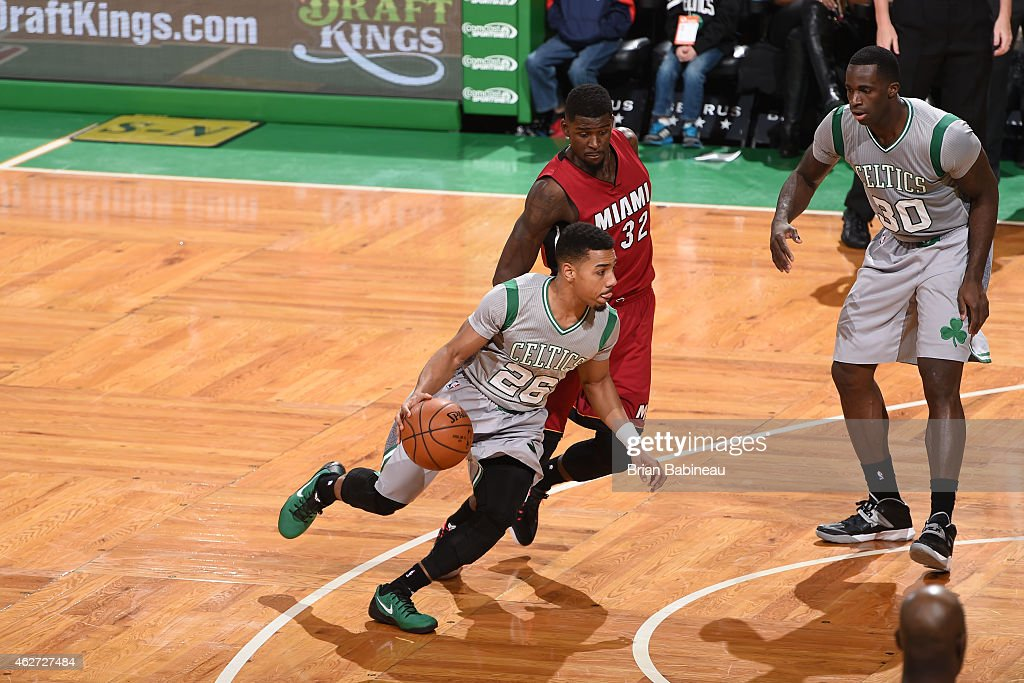 Phil Pressey of the Boston Celtics drives against the Miami Heat on February 2 2015 at TD Garden in Boston Massachusetts NOTE TO USER User expressly...