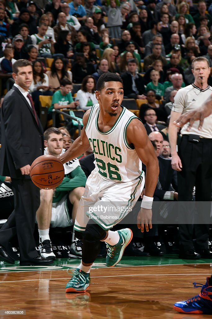 Phil Pressey of the Boston Celtics drives against the New York Knicks on December 12 2014 at the TD Garden in Boston Massachusetts NOTE TO USER User...