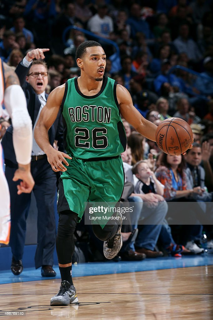 Phil Pressey of the Boston Celtics drives against the Oklahoma City Thunder on March 18 2015 at the Chesapeake Energy Arena in Oklahoma City Oklahoma...