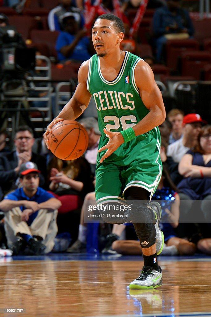 Phil Pressey #26 of the Boston Celtics drives against the Philadelphia ...