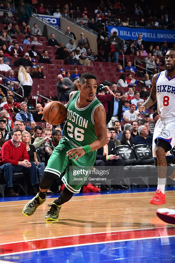 <a gi-track='captionPersonalityLinkClicked' href=/galleries/search?phrase=Phil+Pressey&family=editorial&specificpeople=7399881 ng-click='$event.stopPropagation()'>Phil Pressey</a> #26 of the Boston Celtics drives baseline against the Philadelphia 76ers on December 15, 2014 at Wells Fargo Center in Philadelphia, PA.