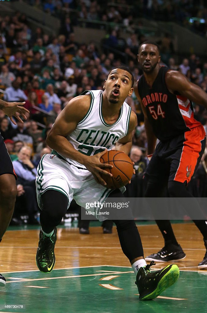 Phil Pressey of the Boston Celtics drives to the basket in the fourth quarter against the Toronto Raptors at TD Garden on April 14 2015 in Boston...