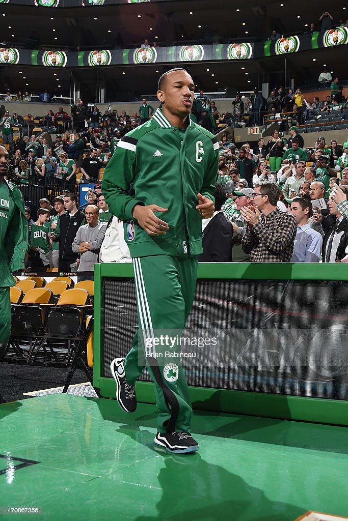 Phil Pressey of the Boston Celtics gets introduced before a game against the Cleveland Cavaliers in Game Three of the Eastern Conference...