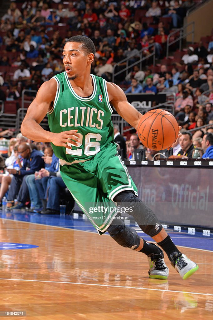 Phil Pressey of the Boston Celtics handles the ball against the Philadelphia 76ers at the Wells Fargo Center on April 14 2014 in Philadelphia...