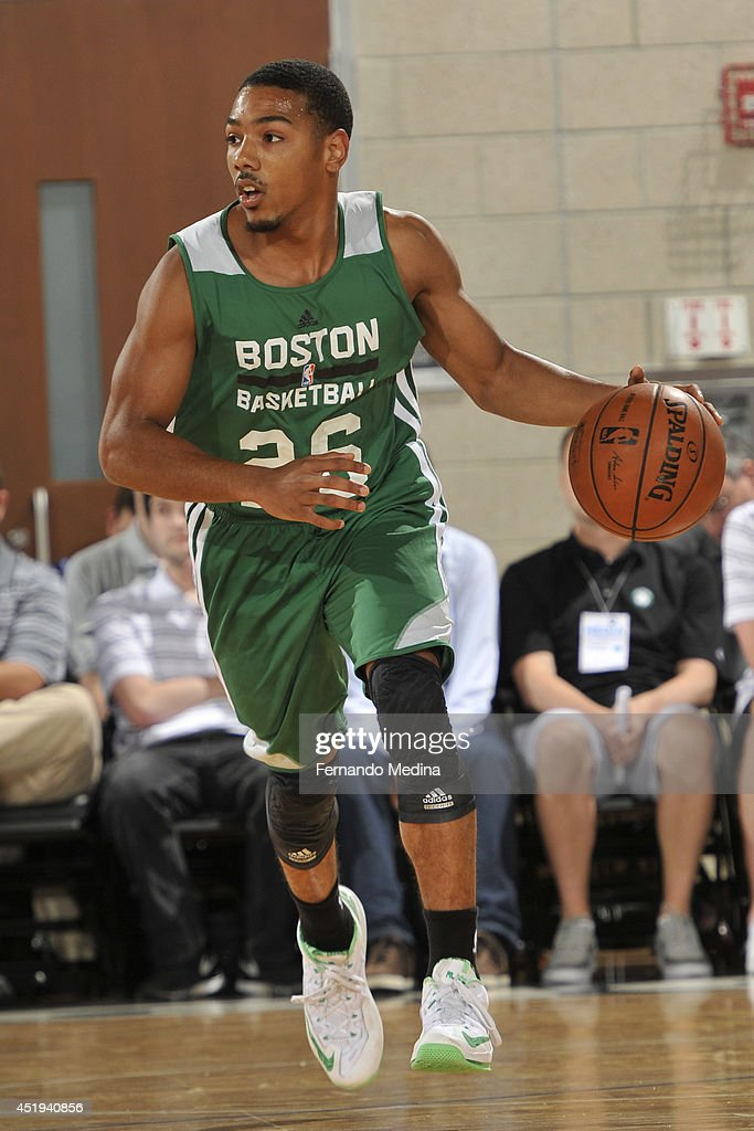 Phil Pressey of the Boston Celtics handles the ball against the Detroit Pistons during the Samsung NBA Summer League 2014 on July 9 2014 at Amway...