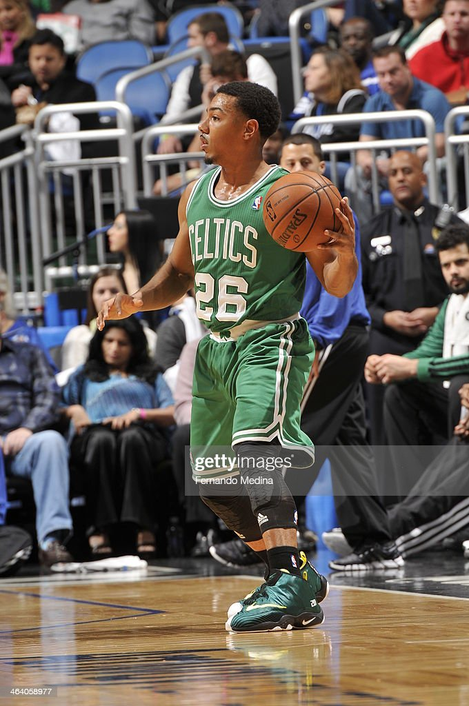 <a gi-track='captionPersonalityLinkClicked' href=/galleries/search?phrase=Phil+Pressey&family=editorial&specificpeople=7399881 ng-click='$event.stopPropagation()'>Phil Pressey</a> #26 of the Boston Celtics looks to pass the ball against the Orlando Magic during the game on January 19, 2014 at Amway Center in Orlando, Florida.