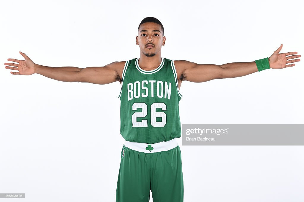Phil Pressey of the Boston Celtics poses for a portrait on September 29 2014 at the Boston Cetlics Training Center at Healthpoint in Waltham...