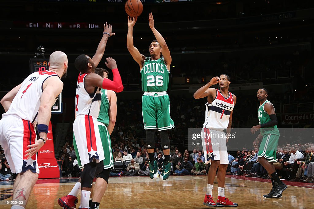 <a gi-track='captionPersonalityLinkClicked' href=/galleries/search?phrase=Phil+Pressey&family=editorial&specificpeople=7399881 ng-click='$event.stopPropagation()'>Phil Pressey</a> #26 of the Boston Celtics shoots against <a gi-track='captionPersonalityLinkClicked' href=/galleries/search?phrase=John+Wall&family=editorial&specificpeople=2265812 ng-click='$event.stopPropagation()'>John Wall</a> #2 of the Washington Wizards during the game at the Verizon Center on January 22, 2014 in Washington, DC.