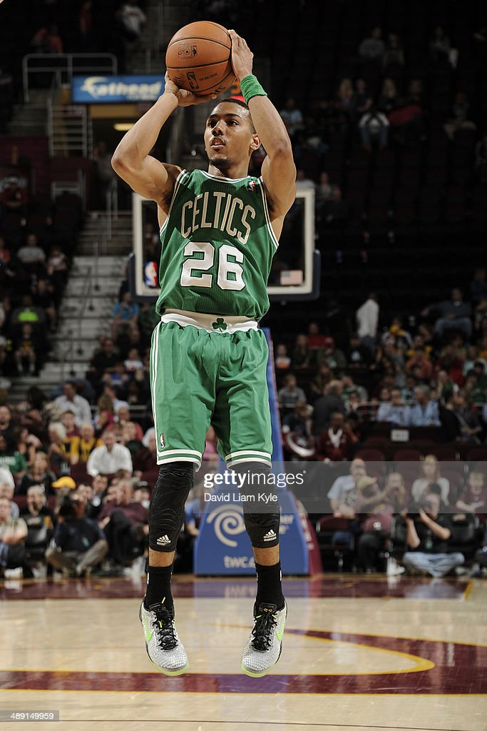 Phil Pressey of the Boston Celtics shoots against the Cleveland Cavaliers at The Quicken Loans Arena on April 12 2014 in Cleveland Ohio NOTE TO USER...