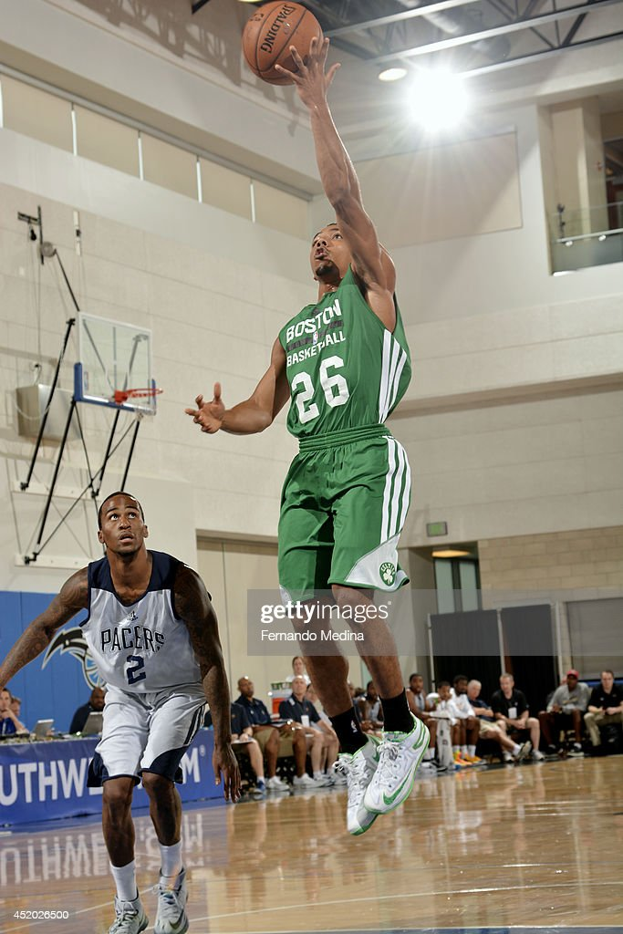 Phil Pressey of the Boston Celtics shoots against the Indiana Pacers during the Samsung NBA Summer League 2014 on July 11 2014 at Amway Center in...