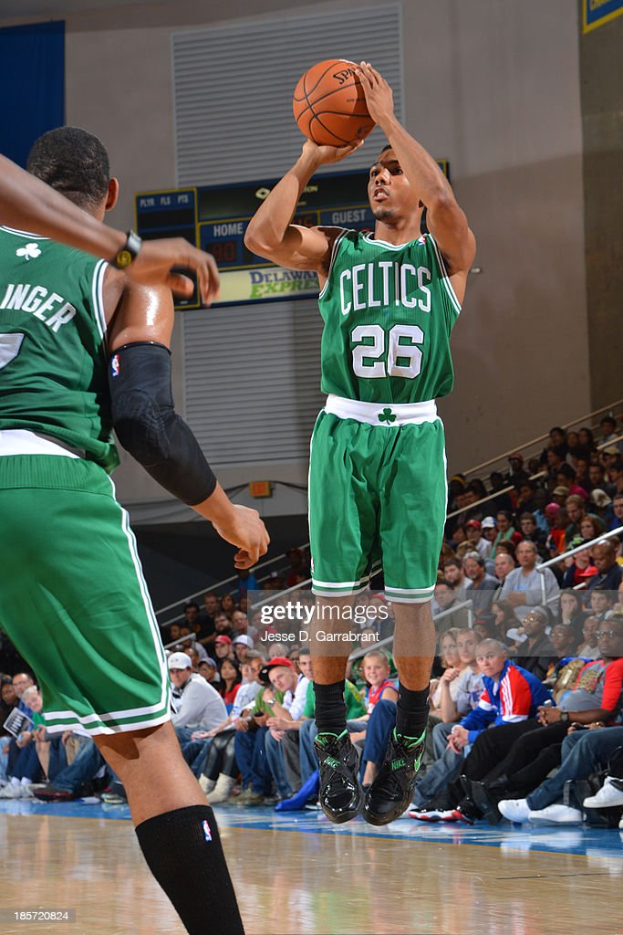 <a gi-track='captionPersonalityLinkClicked' href=/galleries/search?phrase=Phil+Pressey&family=editorial&specificpeople=7399881 ng-click='$event.stopPropagation()'>Phil Pressey</a> #26 of the Boston Celtics shoots the ball against the Philadelphia 76ers at the Bob Carpenter Center on October 11, 2013 in Newark, Delaware.