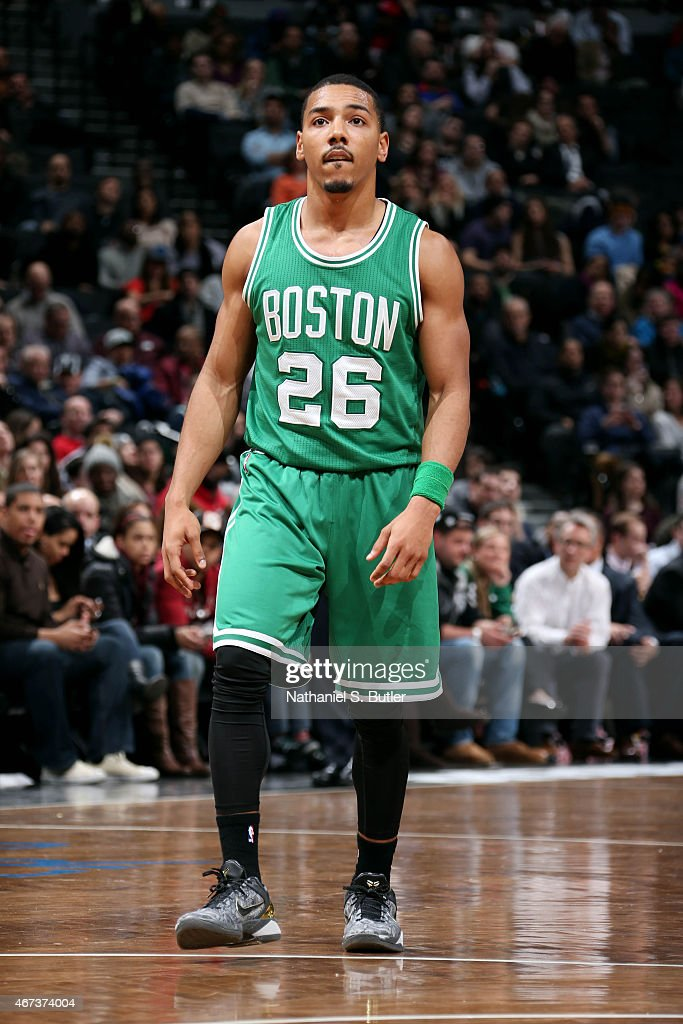 Phil Pressey of the Boston Celtics stands on the court during a game against the Brooklyn Nets on March 23 2015 at the Barclays Center in the...