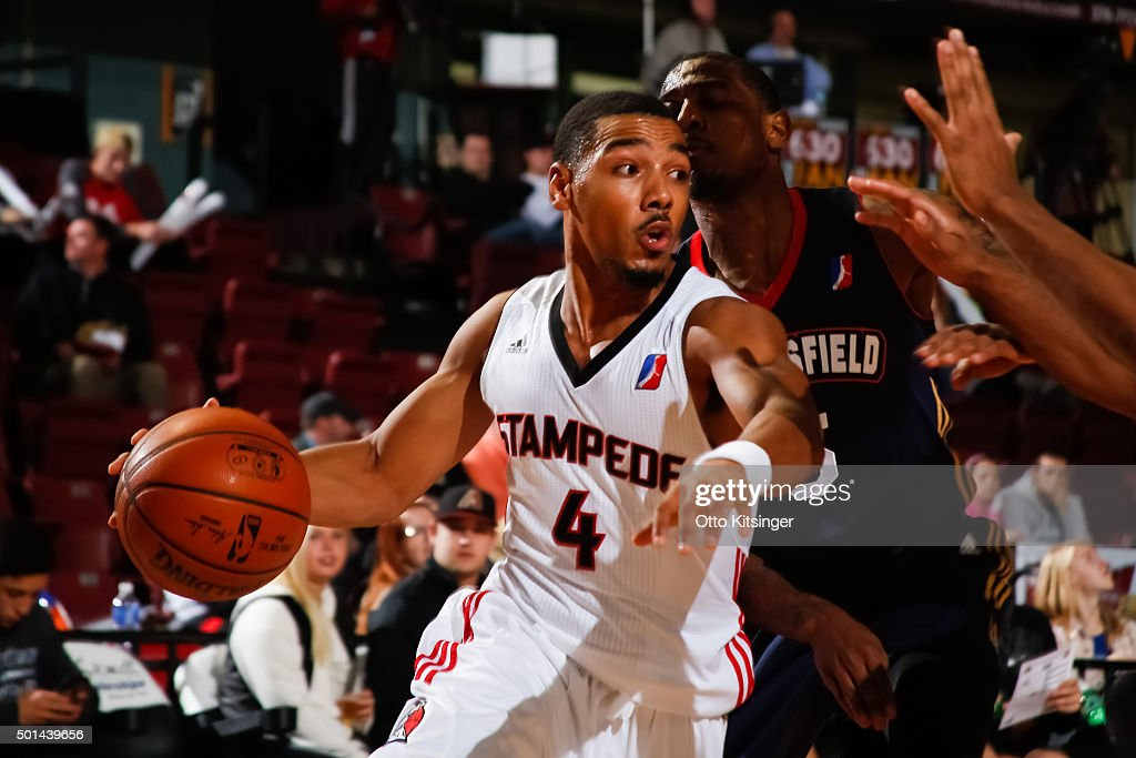 Phil Pressey of the Idaho Stampede dribbles the ball against the Bakersfield Jam at CenturyLink Arena on December 12 2015 in Boise Idaho NOTE TO USER...