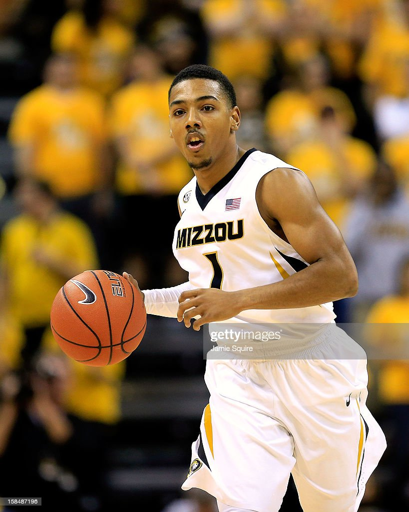 Phil Pressey #1 of the Missouri Tigers brings the ball upcourt during the game against the South Carolina State Bulldogs at Mizzou Arena on December 17, 2012 in Columbia, Missouri.