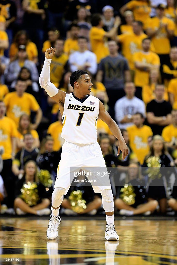 Phil Pressey #1 of the Missouri Tigers gestures during the game against the South Carolina State Bulldogs at Mizzou Arena on December 17, 2012 in Columbia, Missouri.