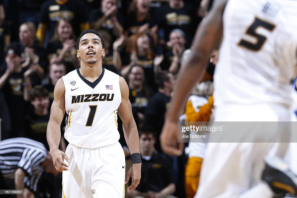 Phil Pressey #1 of the Missouri Tigers looks up at the scoreboard in the closing seconds of the game against the Florida Gators at Mizzou Arena on February 19, 2013 in Columbia, Missouri. Missouri upset Florida 63-60.
