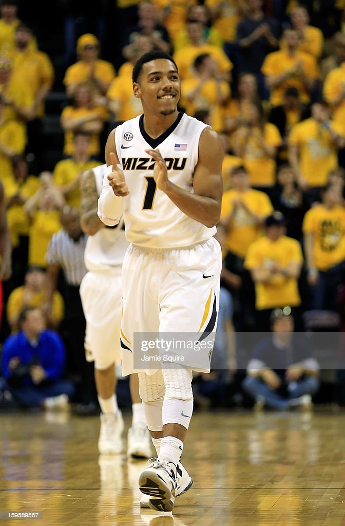 Phil Pressey #1 of the Missouri Tigers reacts after scoring during the game against the Georgia Bulldogs at Mizzou Arena on January 16, 2013 in Columbia, Missouri.