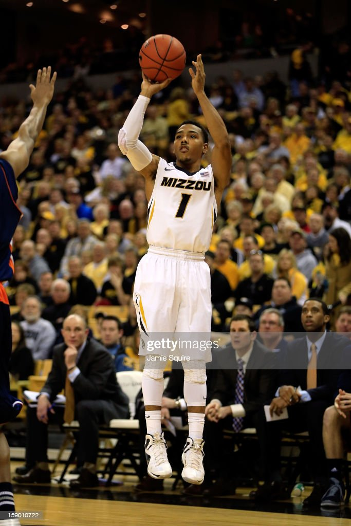 Phil Pressey #1 of the Missouri Tigers shoots a jumpshot during the game against the Bucknell Bison at Mizzou Arena on January 5, 2013 in Columbia, Missouri.