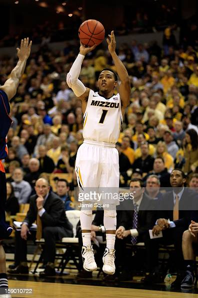 Phil Pressey of the Missouri Tigers shoots a jumpshot during the game against the Bucknell Bison at Mizzou Arena on January 5 2013 in Columbia...