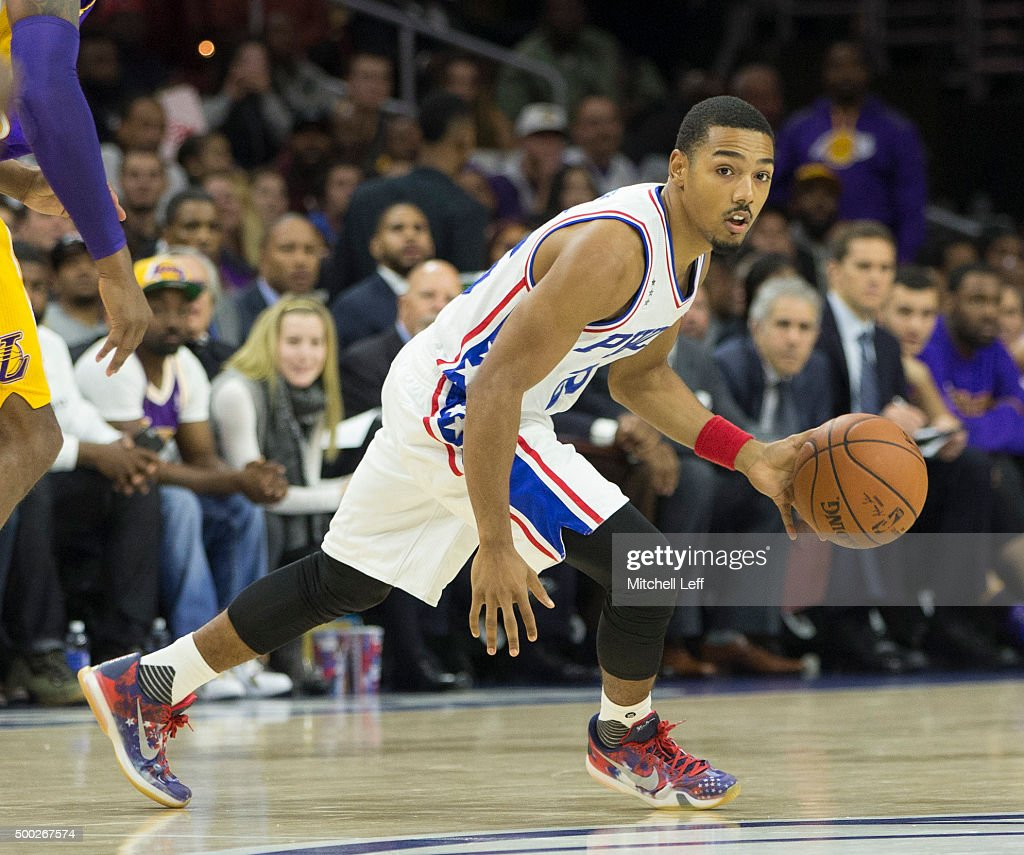 Phil Pressey of the Philadelphia 76ers controls the ball in the game against the Los Angeles Lakers on December 1 2015 at the Wells Fargo Center in...