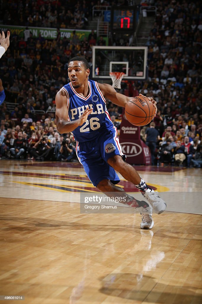 Phil Pressey of the Philadelphia 76ers handles the ball against the Cleveland Cavaliers on November 6 2015 at Quicken Loans Arena in Cleveland Ohio...