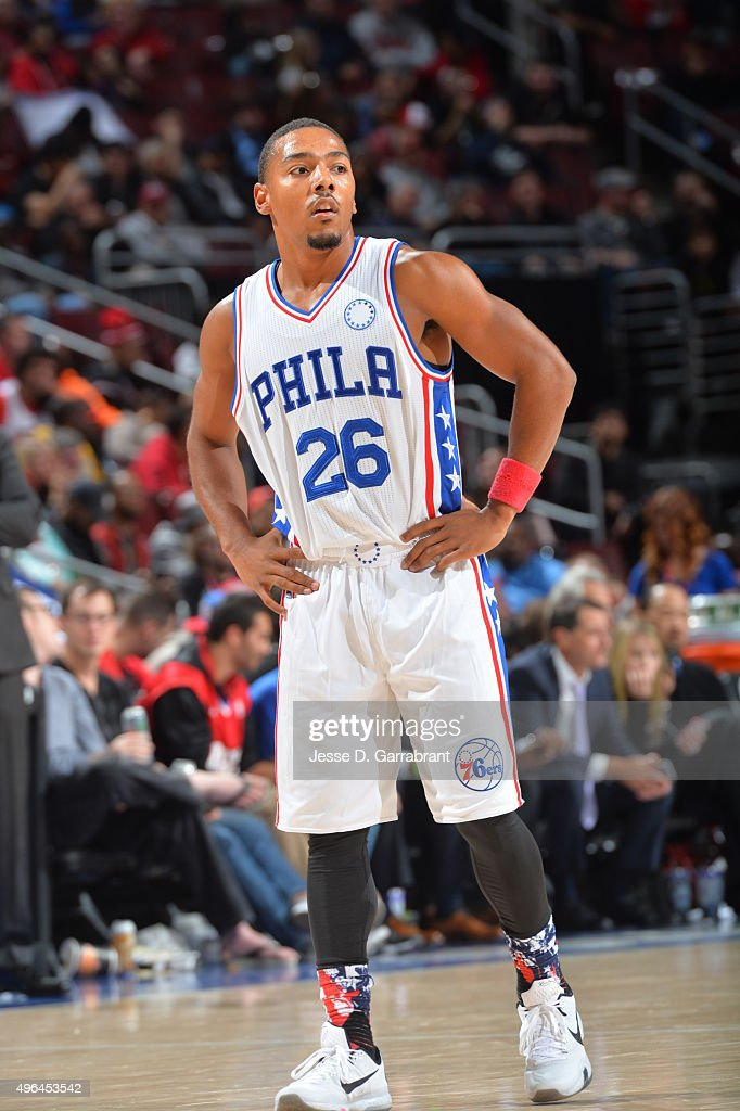 Phil Pressey of the Philadelphia 76ers looks on against the Chicago Bulls at Wells Fargo Center on November 9 2015 in Philadelphia Pennsylvania NOTE...
