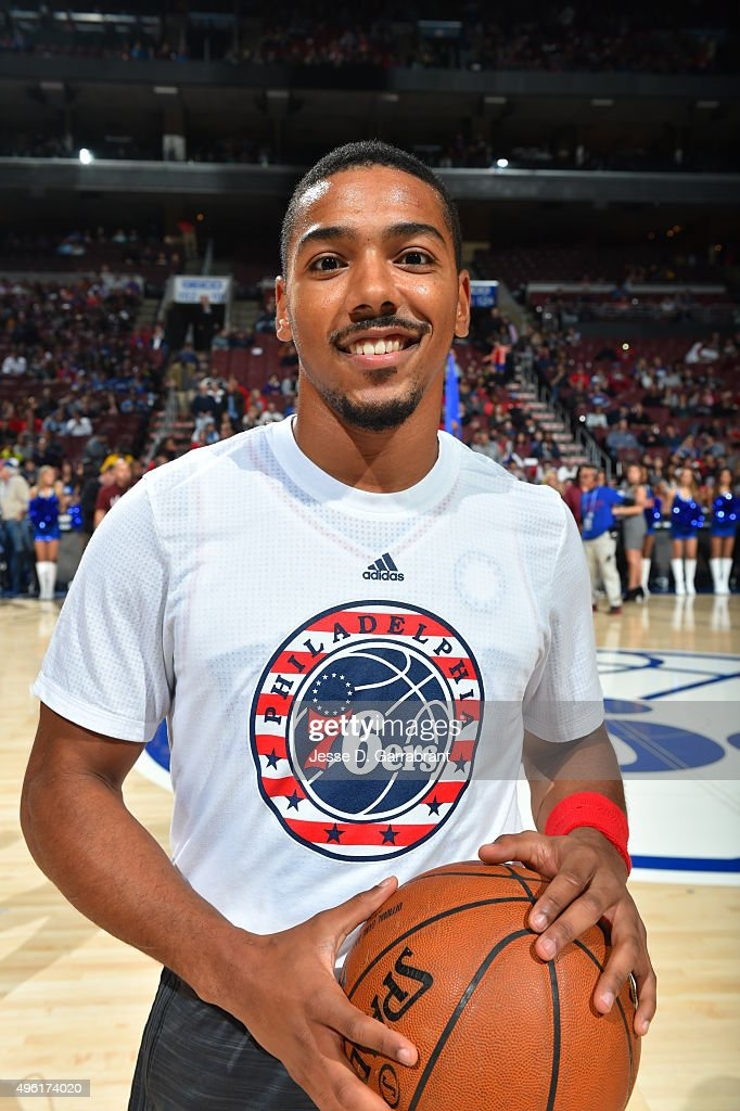 Phil Pressey of the Philadelphia 76ers smiles for the camera against the Orlando Magic at Wells Fargo Center on November 7 2015 in Philadelphia...