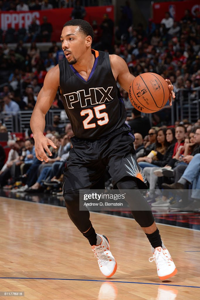 Phil Pressey of the Phoenix Suns handles the ball against the Los Angeles Clippers on February 22 2016 at STAPLES Center in Los Angeles California...