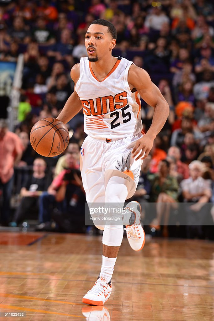 Phil Pressey of the Phoenix Suns handles the ball against the San Antonio Spurs on February 21 2016 at Talking Stick Resort Arena in Phoenix Arizona...