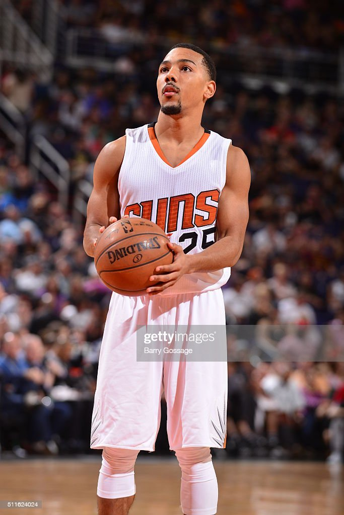 Phil Pressey of the Phoenix Suns shoots a free throw against the San Antonio Spurs on February 21 2016 at Talking Stick Resort Arena in Phoenix...