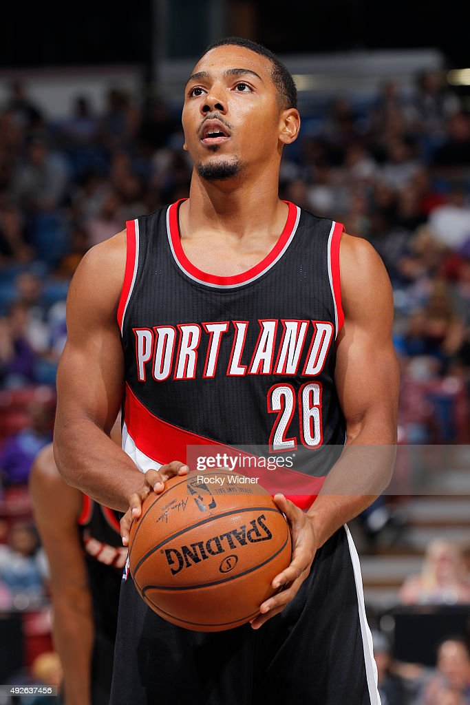 Phil Pressey of the Portland Trail Blazers attempts a free throw shot against the Sacramento Kings on October 10 2015 at Sleep Train Arena in...