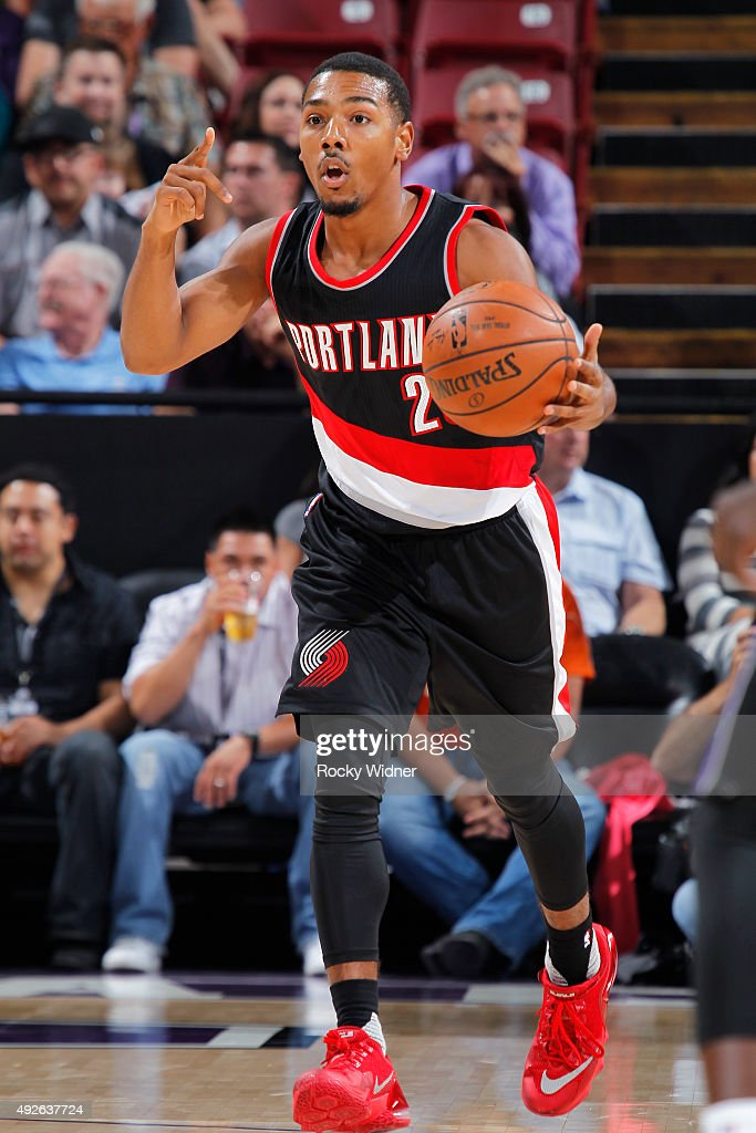 Phil Pressey of the Portland Trail Blazers brings the ball up the court against the Sacramento Kings on October 10 2015 at Sleep Train Arena in...