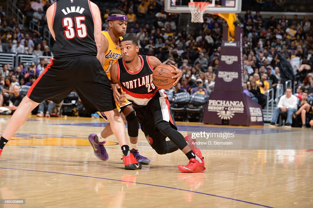Phil Pressey of the Portland Trail Blazers drives to the basket against the Los Angeles Lakers during the preseason game on October 19 2015 at...