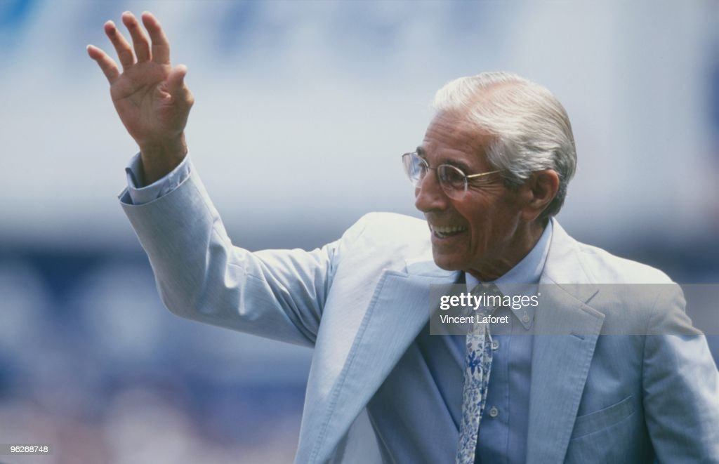 Phil Rizzuto attends a pre-game ceremony in honor of 'Yogi Berra Day' during the MLB game between the Montreal Expos and the New York Yankees on July 18, 1999 at Yankee Stadium in the Bronx, New York. The Yankees defeated the Expos 6-0.